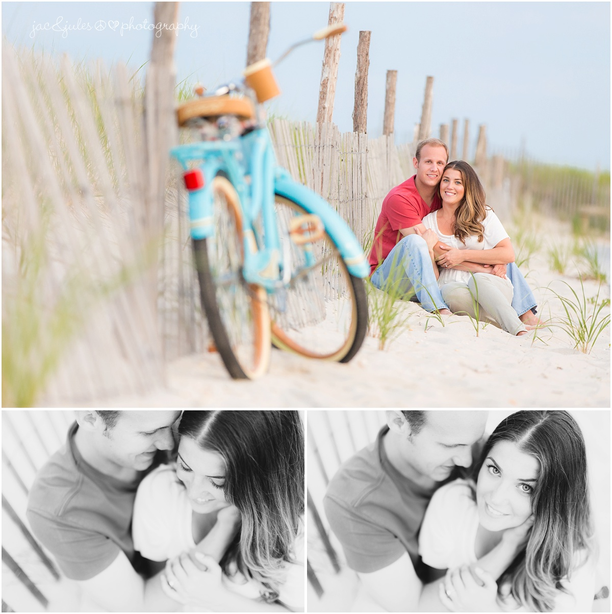 engaged couple snuggles on the beach near their parked beach cruiser bike.