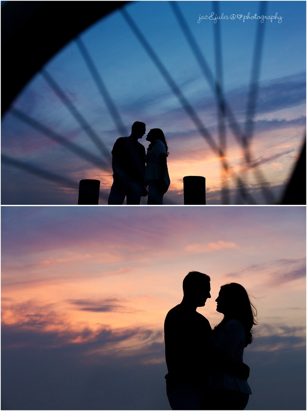 silhouettes of engaged couple, one through a bicycle wheel