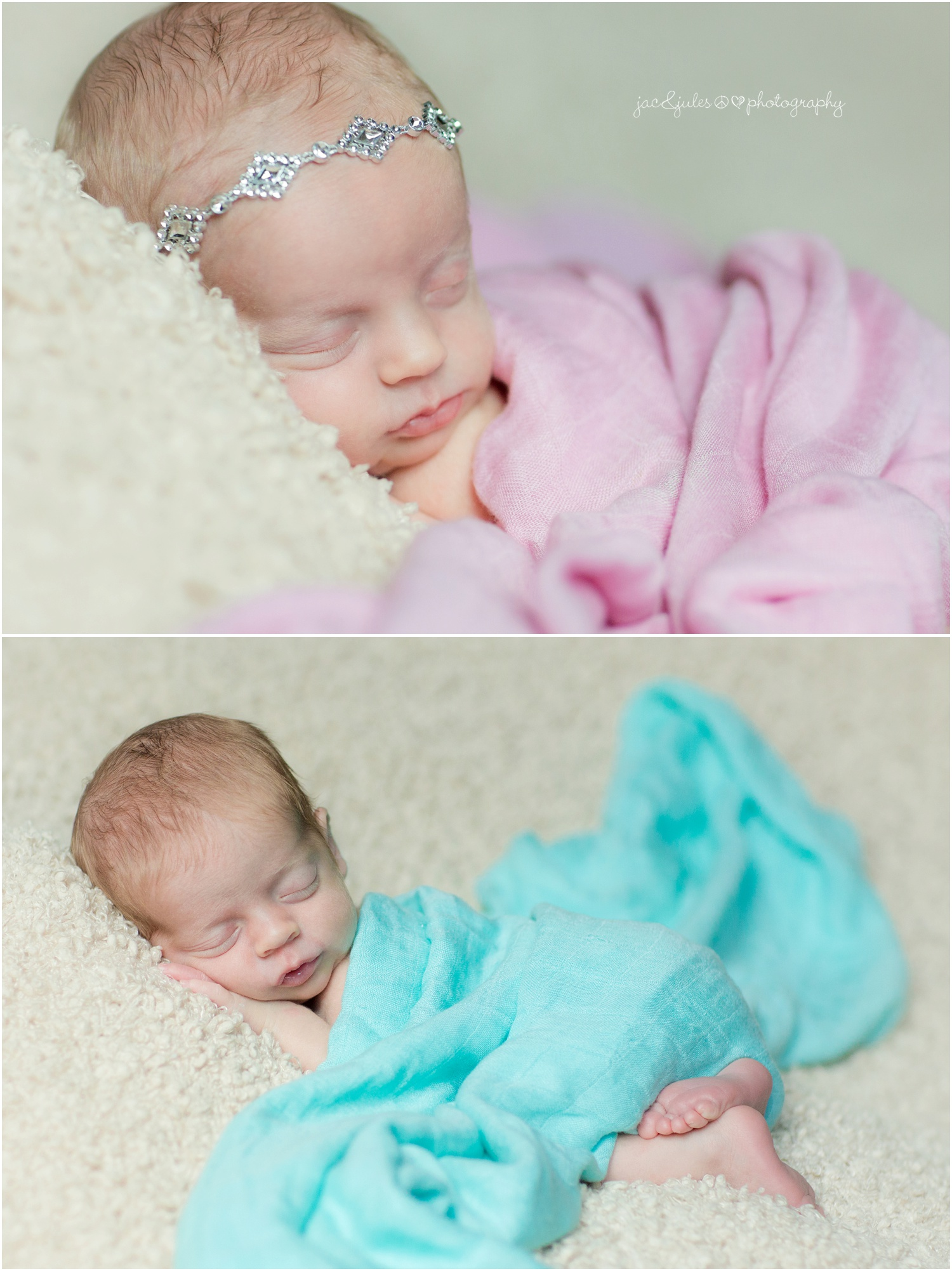 newborn twins and family at their home, boy and girl, teal and pink muslin swaddle blankets (3)