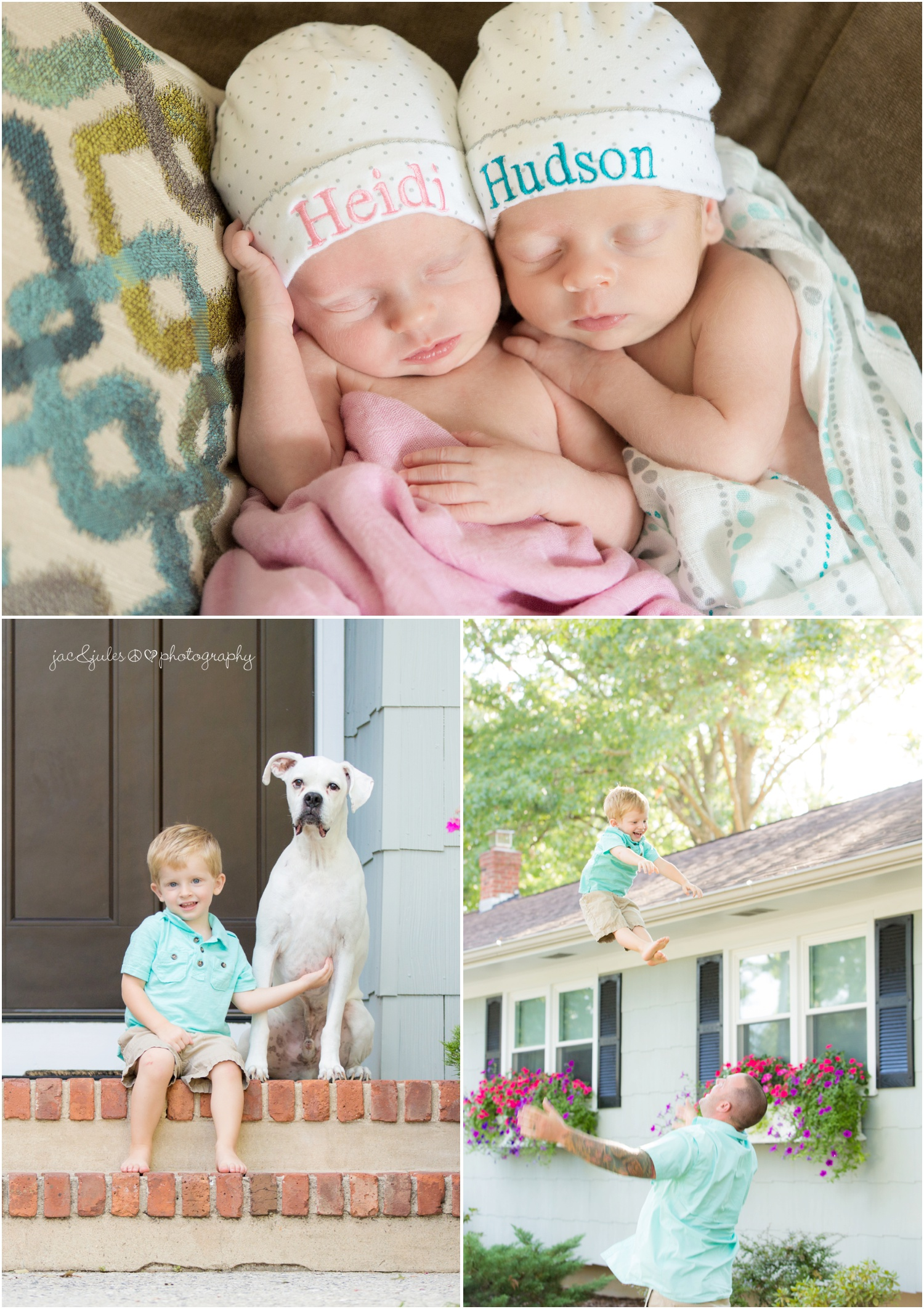 newborn twins and family at their home, boy and girl, teal and pink muslin swaddle blankets (4)