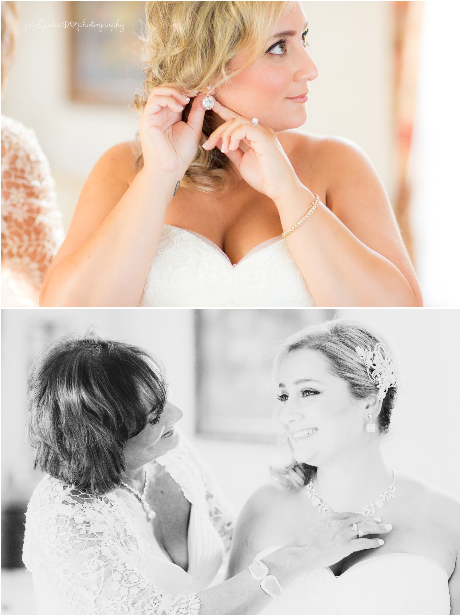 bride putting on jewelry
