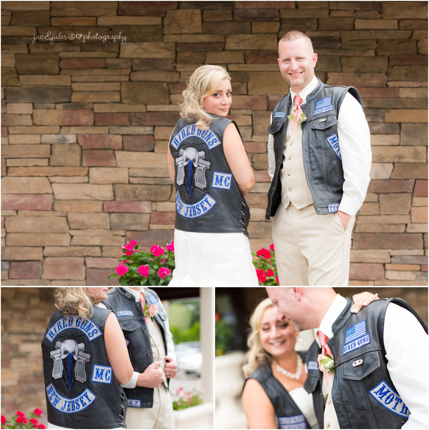 bride and groom in leather biker vests