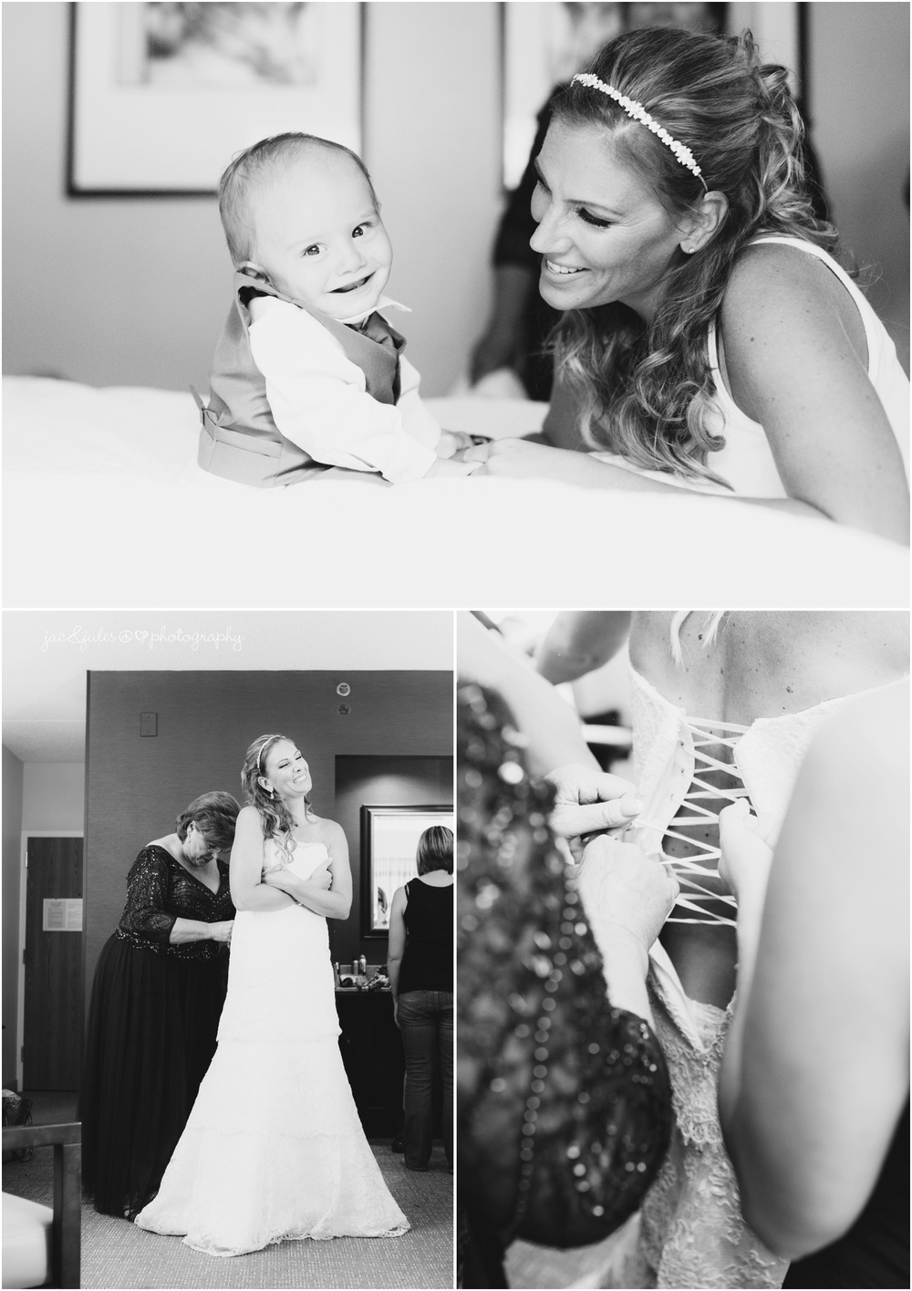 bride with son and getting dressed