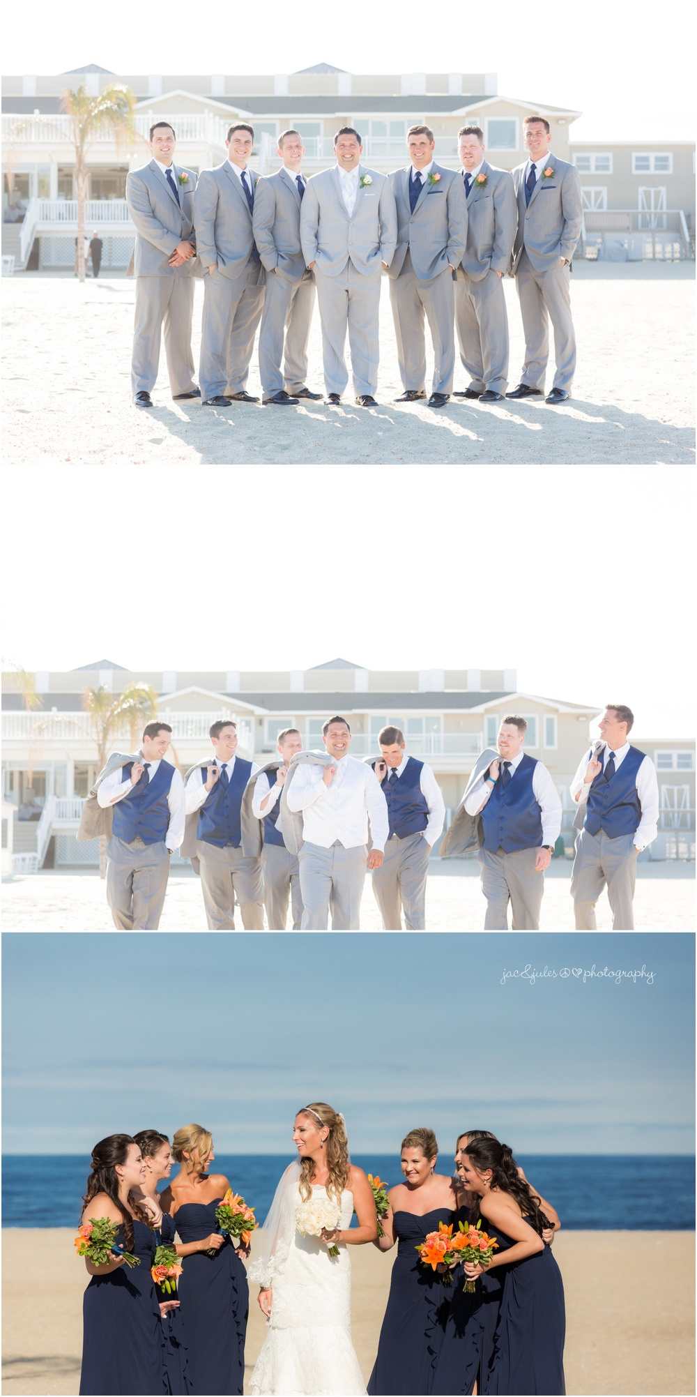 groom and groomsmen on the beach
