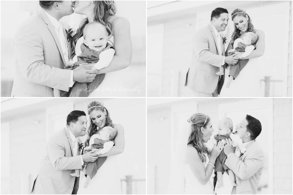 candids of bride groom and son