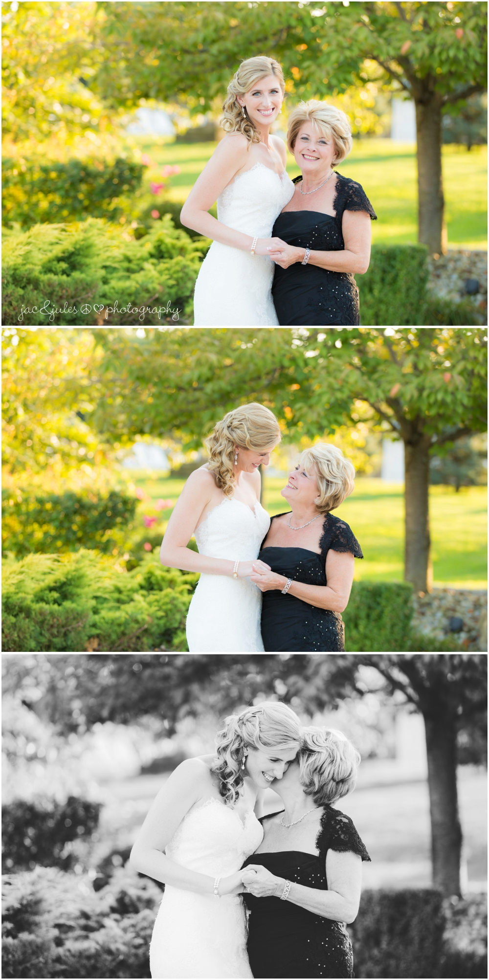 jacnjules photographs the bride and her mom at windows on the water at frogbridge