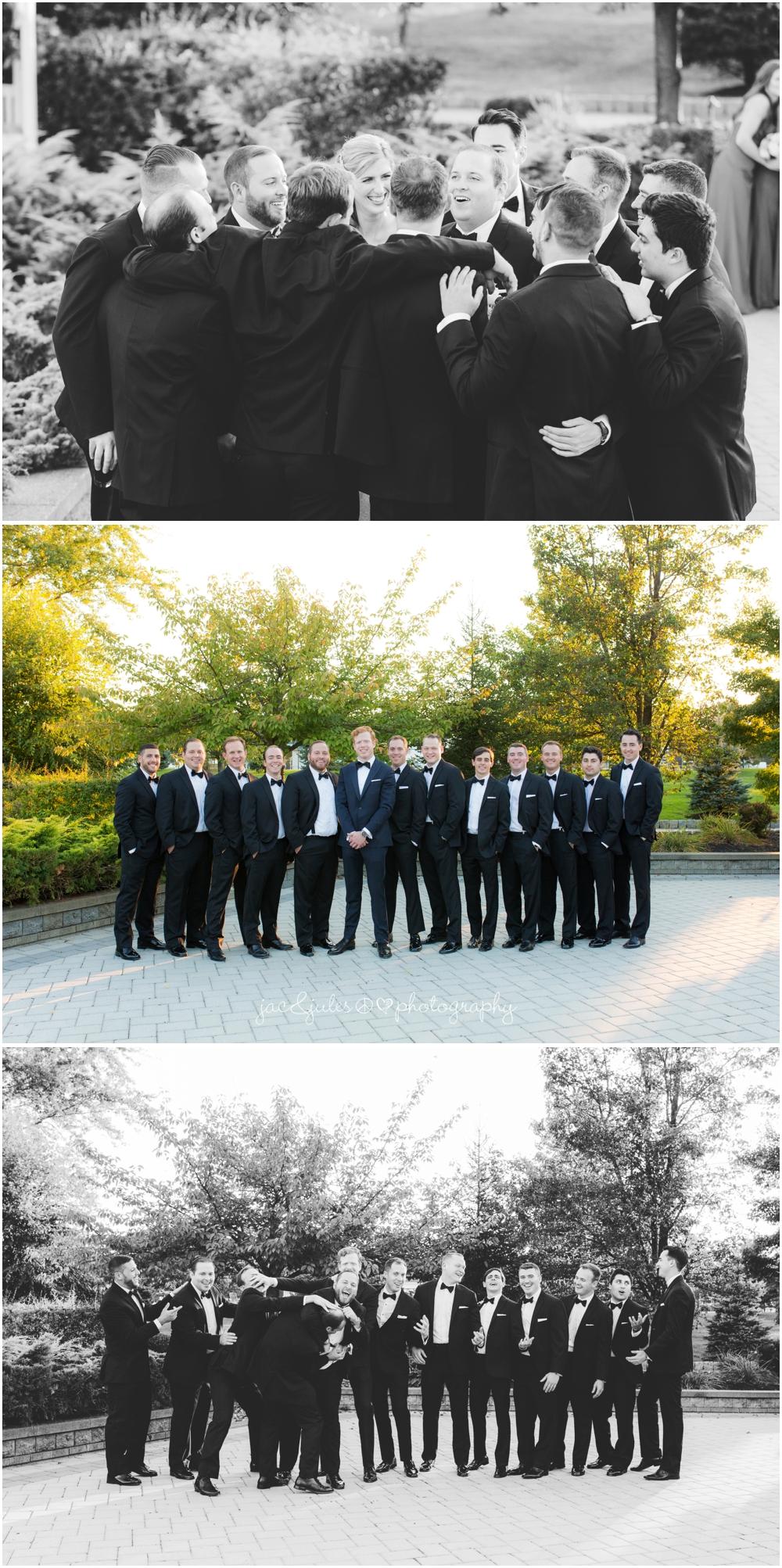 jacnjules photographs fun groomsmen at windows on the water at frogbridge