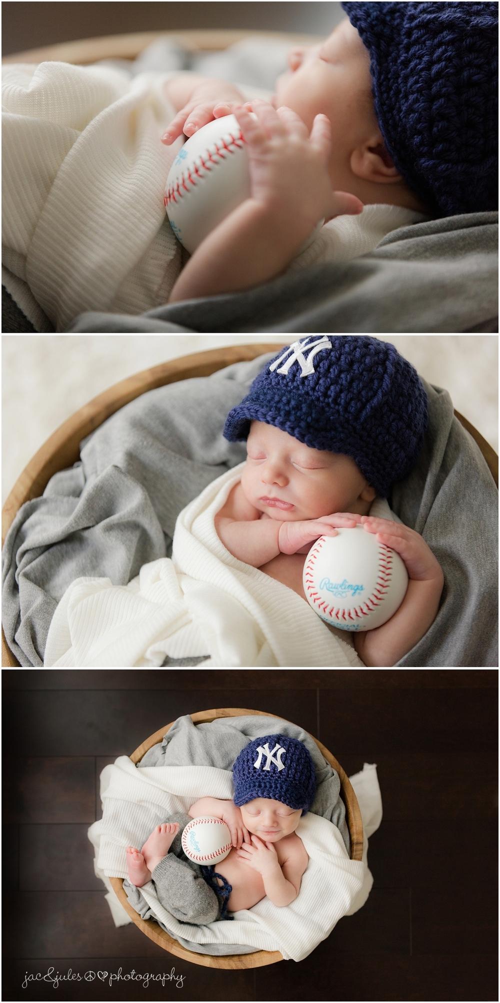 jacnjules photographs newborn in yankees hat and baseball in Marlboro NJ