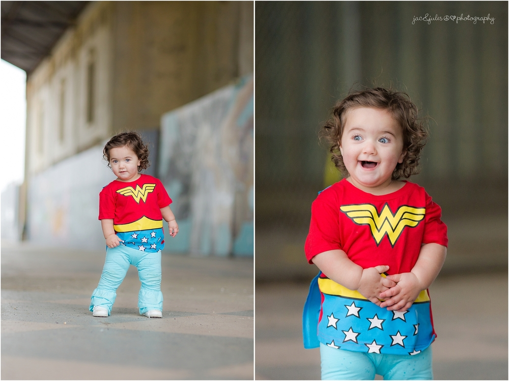 jacnjules photographs little girl in wonder woman outfit in Asbury Park NJ