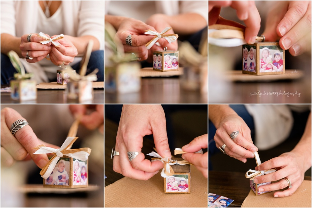 creating hand made wooden cube photo ornaments