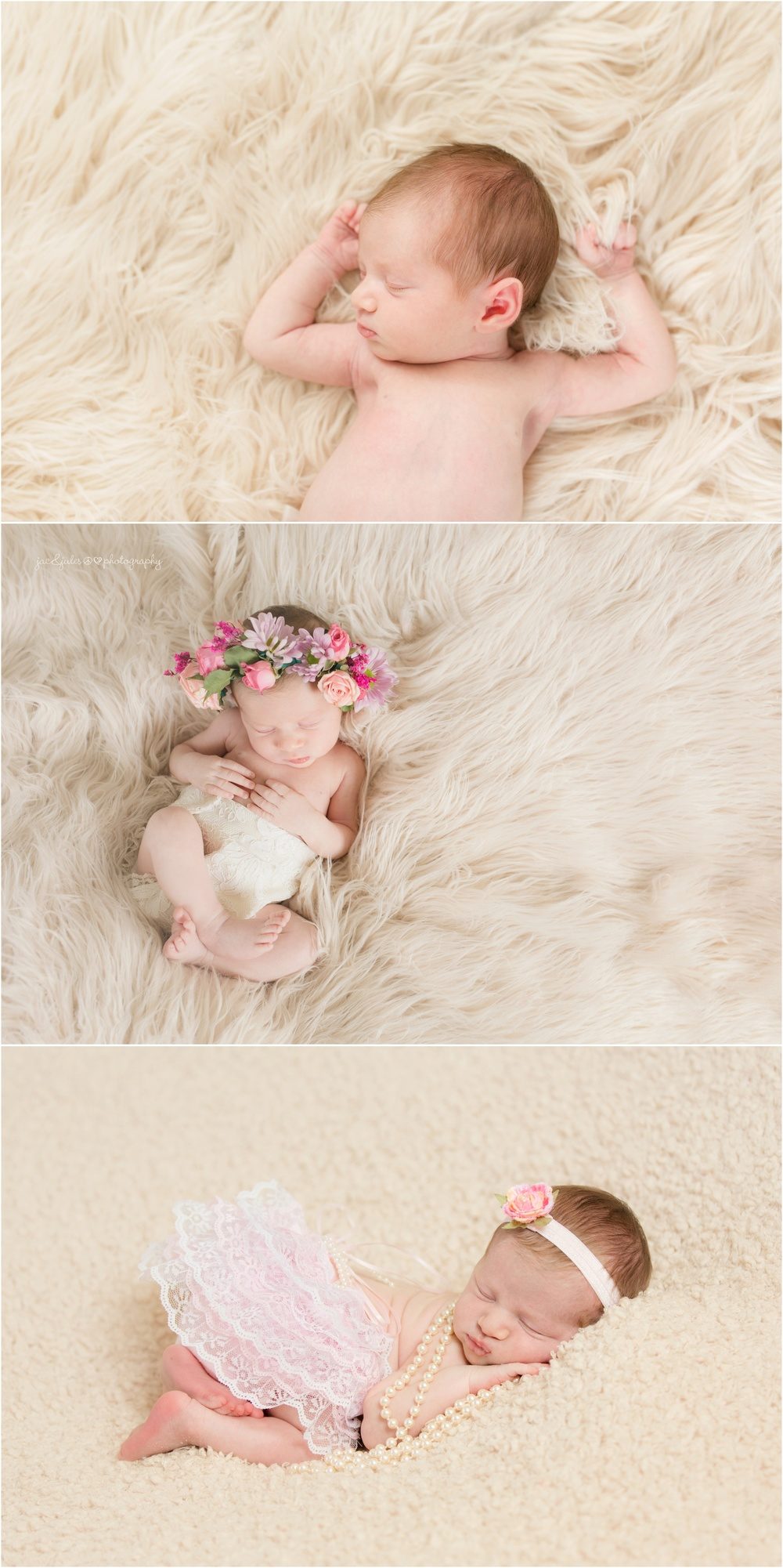 newborn baby girl in hand made outfits by grandma