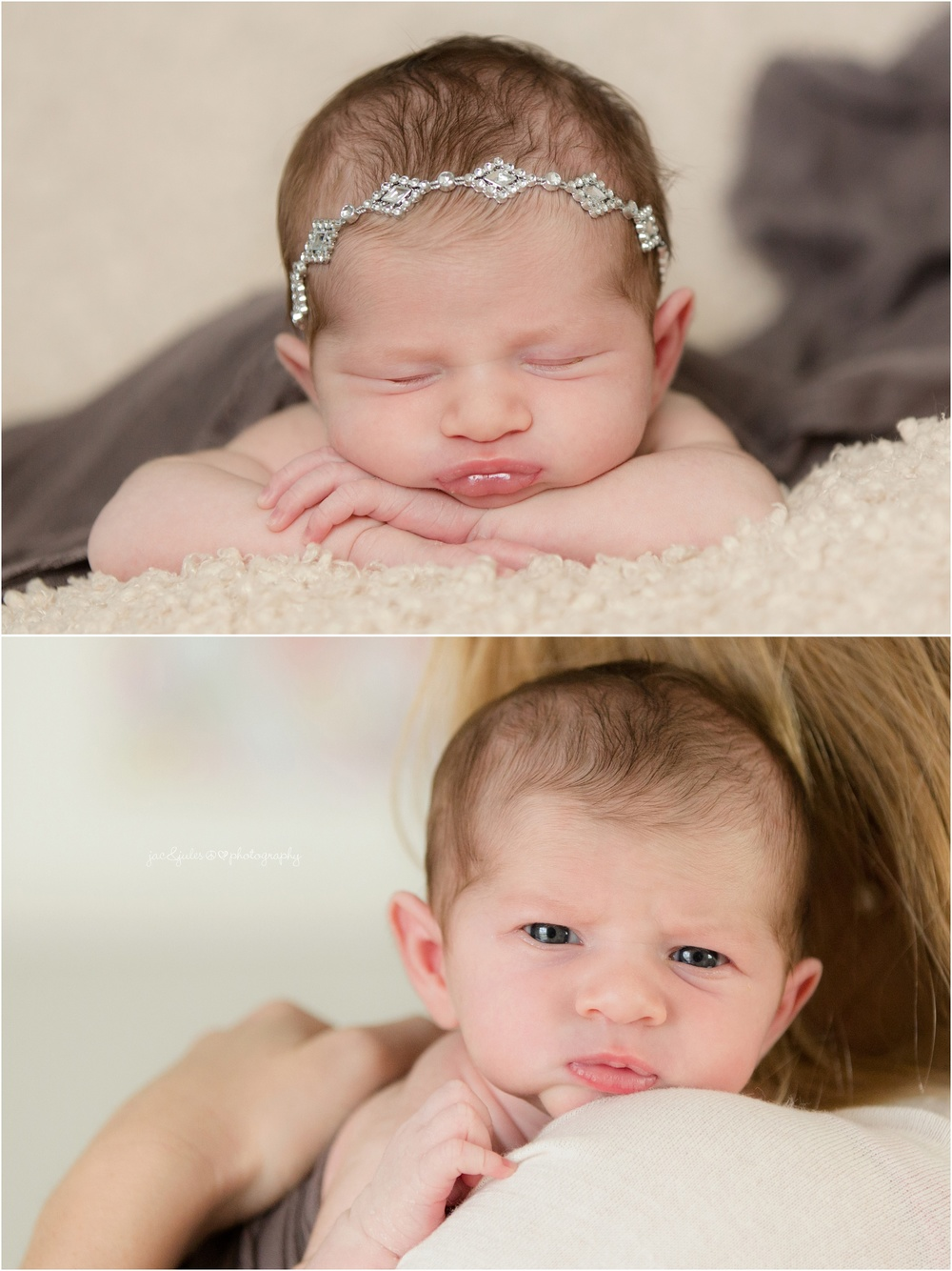 newborn baby girl in jewel headband