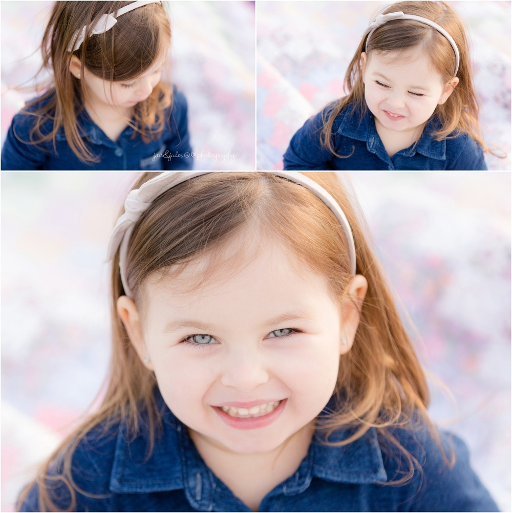 close ups of adorable 3 year old girl with personality