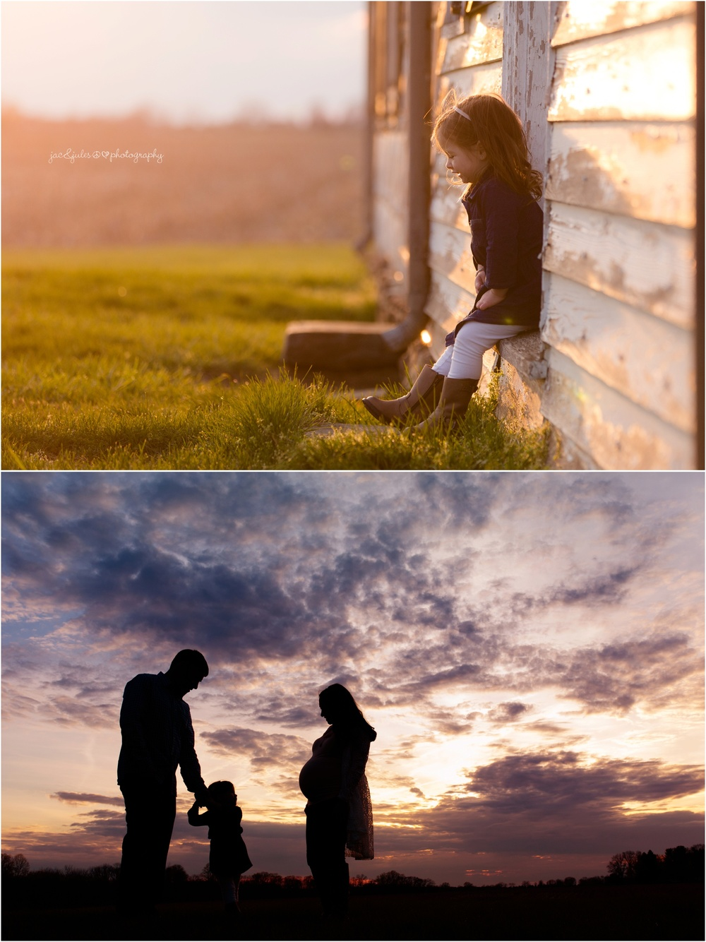 amazing light and sunset silhouette during family maternity photo shoot in freehold, nj.