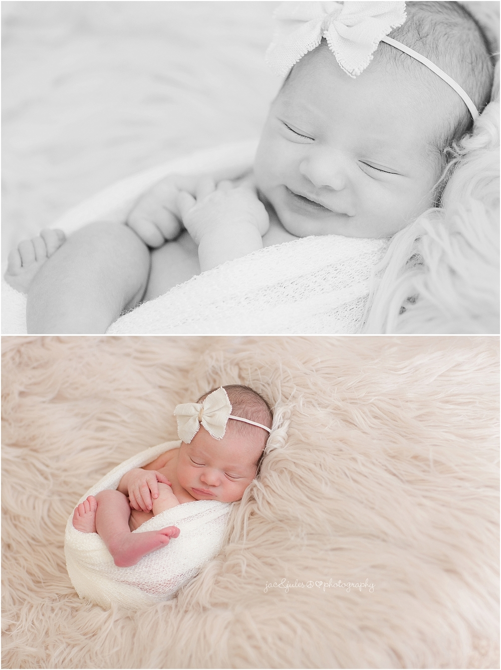 jacnjules photographs newborn baby girl in their home in nnj