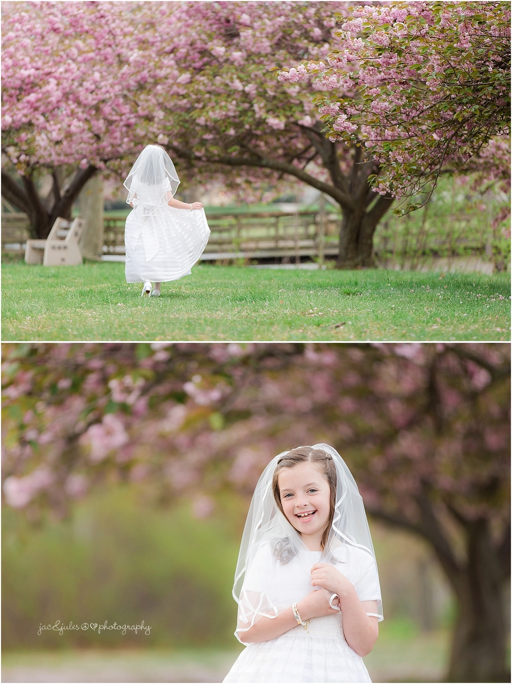 jacnjules photographs communion in Spring Lake NJ using the Cherry Blossoms