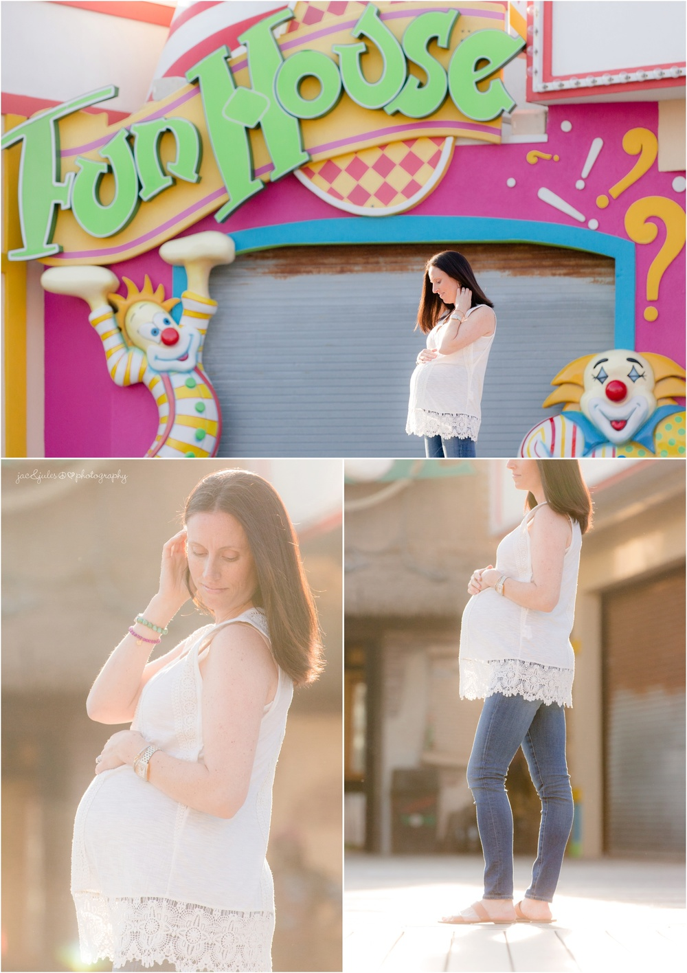Pregnant Mom on point pleasant boardwalk.  Fun house maternity