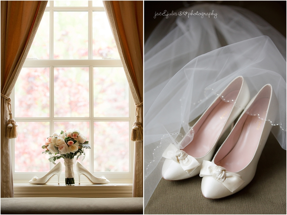 jacnjules photographs bridal bouquet and shoes at the olde mill inn in basking ridge nj