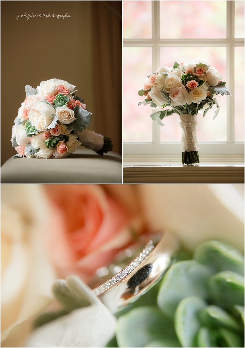 jacnjules photographs wedding bouquet at olde mill inn, basking ridge nj
