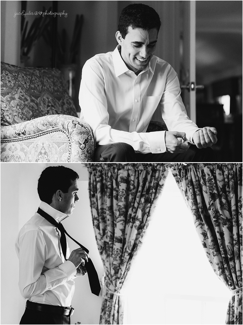 jacnjules photographs groom getting ready for his wedding at the olde mill inn in basking ridge nj