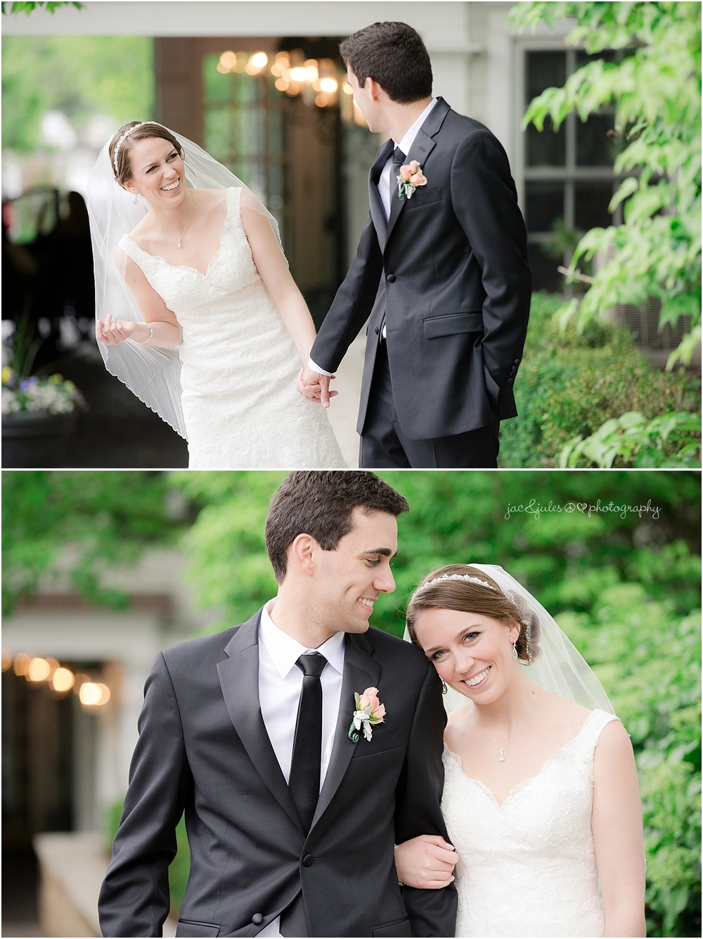 jacnjules photographs bride and groom photos on their wedding day at olde mill inn in basking ridge nj