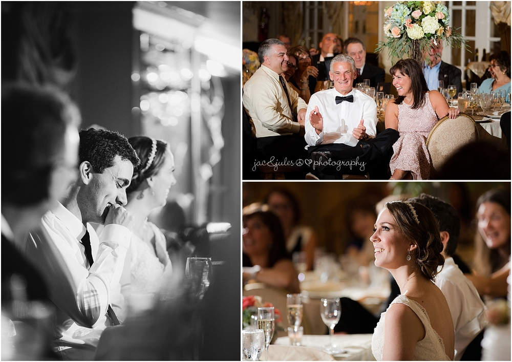 jacnjules photograph toasts at their wedding reception at olde mill inn in basking ridge nj