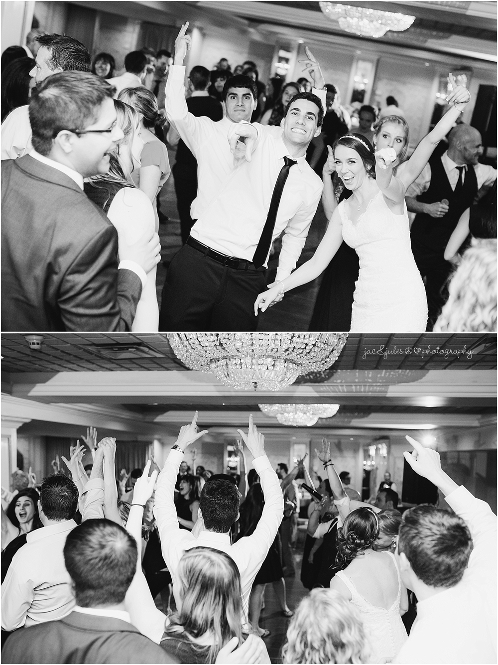 jacnjules photograph fun, wild wedding reception at the olde mill inn in basking ridge nj