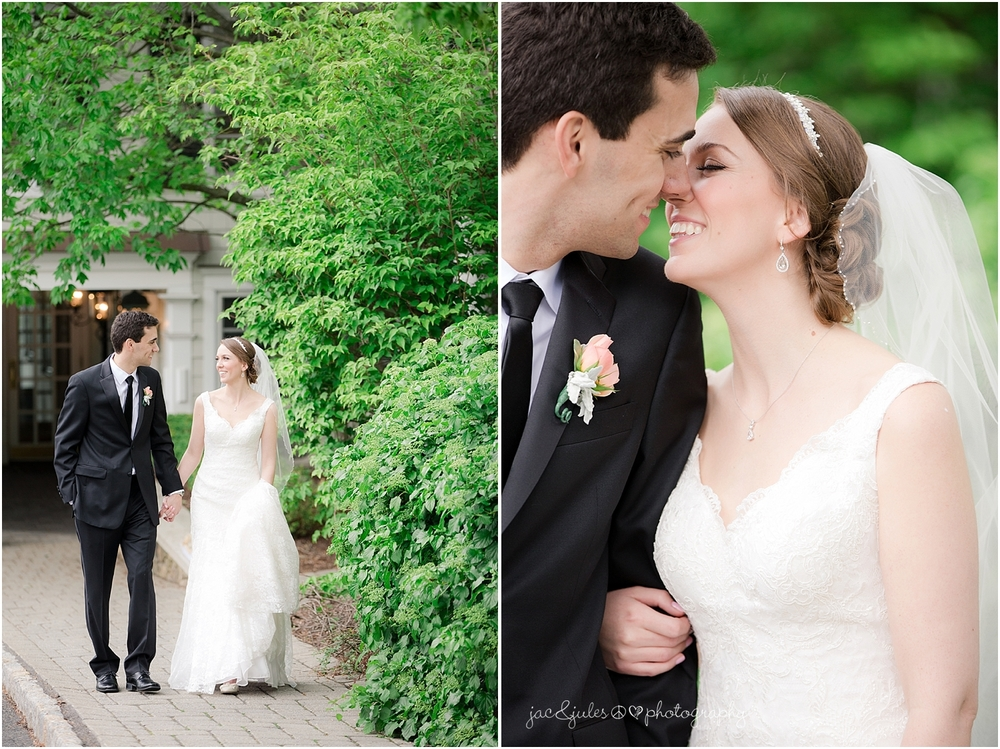 jacnjules photograph bride and groom on their wedding day at olde mill inn in basking ridge nj