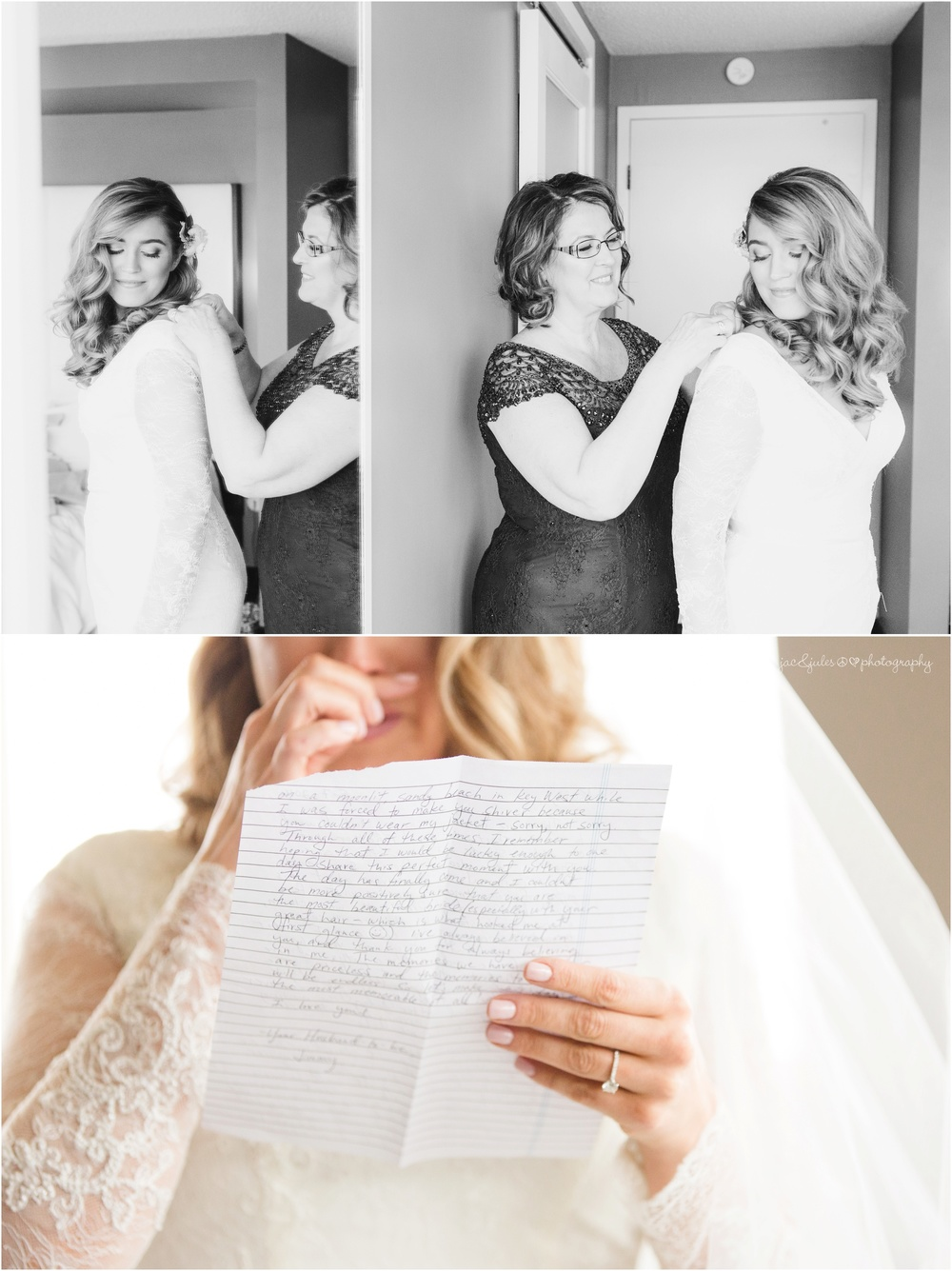 emotional bride reading letter from groom.
