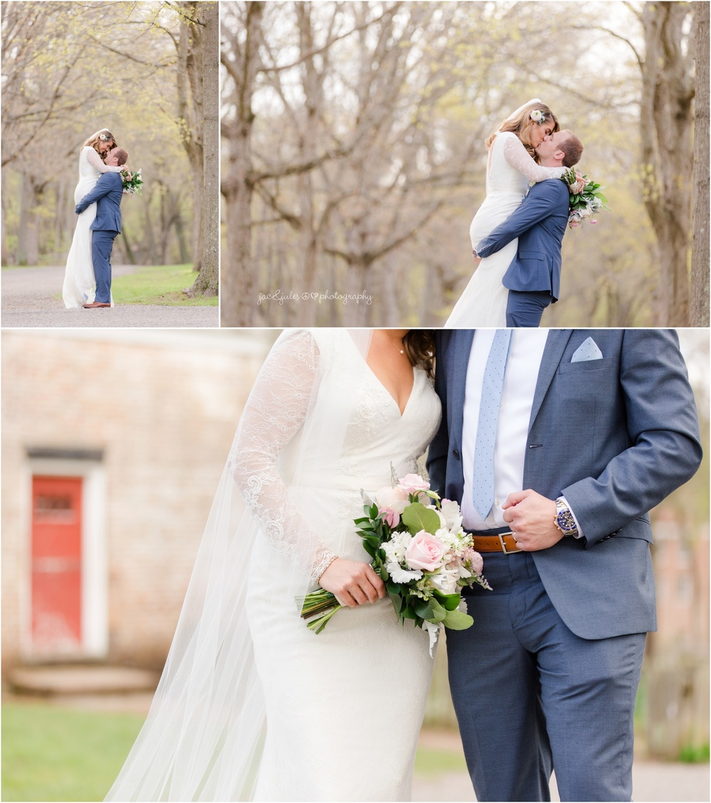 fun bride and groom photos at allaire state park