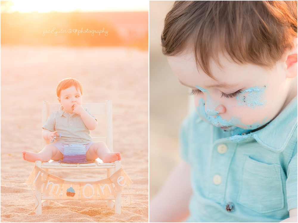 jacnjules photographs one year old boy for his birthday cake smash on the beach in belmar