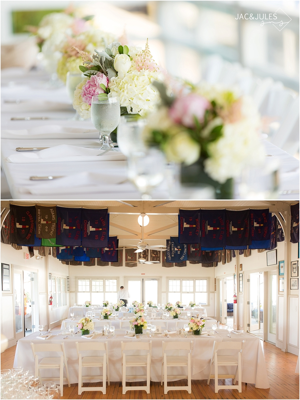 jacnjules photograph wedding reception details at mantoloking yacht club