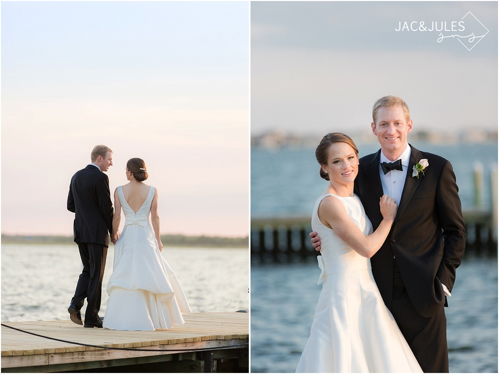 jacnjules photograph bride and groom on their wedding day on the dock at mantoloking yacht club in nj