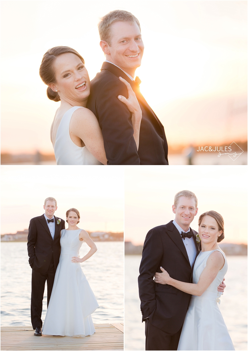 jacnjules photograph bride and groom at sunset at mantoloking yacht club in nj