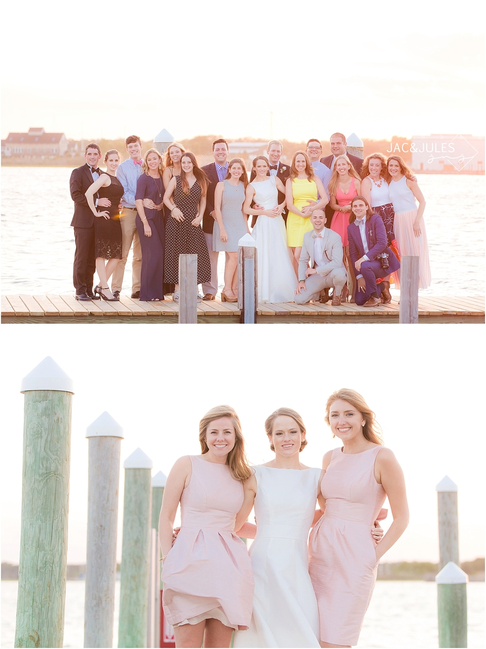 jacnjules photograph a wedding on the dock at sunset at mantoloking yacht club in nj