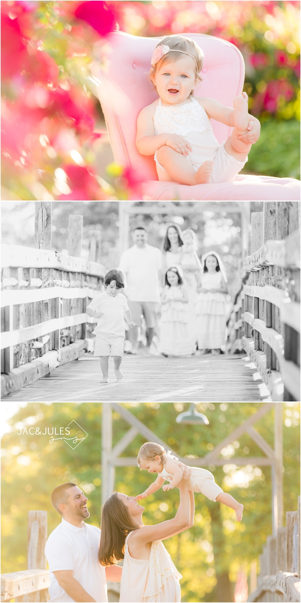 Candid family photos on the bridge at Divine Park in Spring Lake.