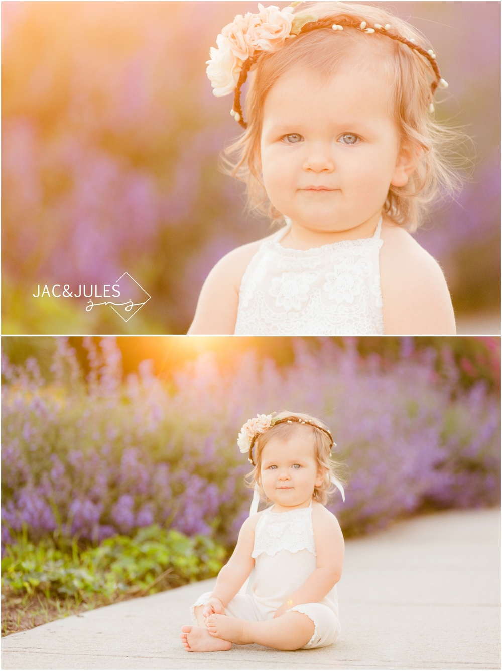 1st birthday girl in flower crown with purple flowers and pretty sun flare in Spring Lake