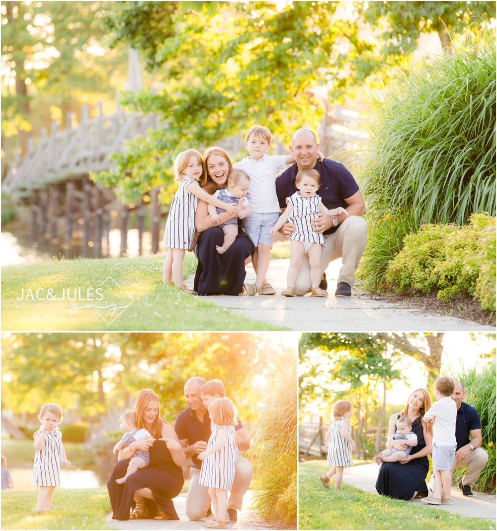 Candid photos of family of 6 near the bridge at Divine Park in Spring Lake, NJ