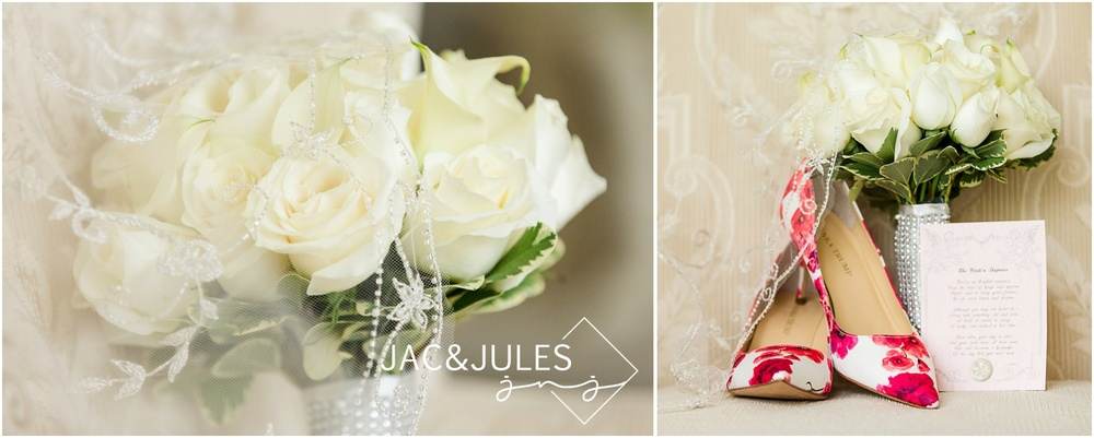 bridal bouquet, floral Ivanka Trump shoes and accessories at bride prep in Metuchen, NJ