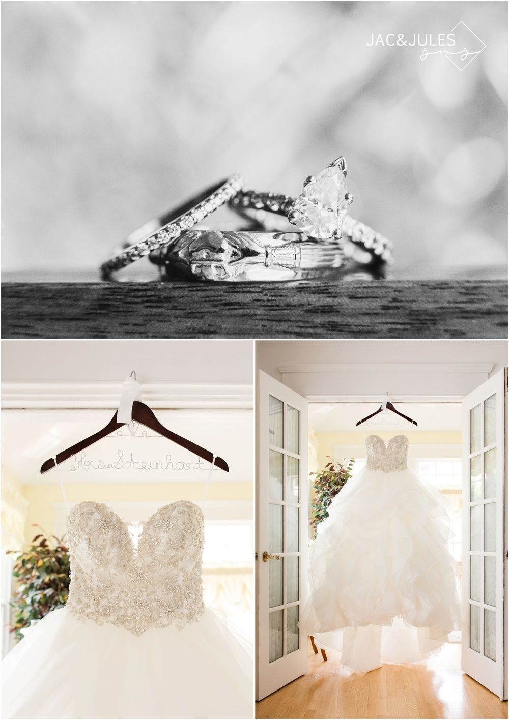 bridal gown and wedding rings at bride prep in Metuchen, NJ