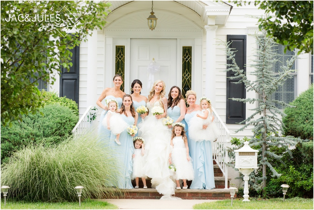 bridesmaids and flower girls on front porch in Metuchen, NJ.