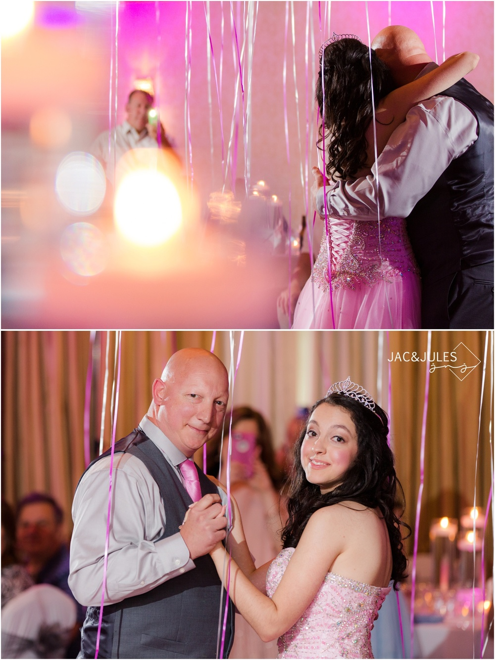 Father daughter dance at sweet sixteen party in Toms River, NJ.