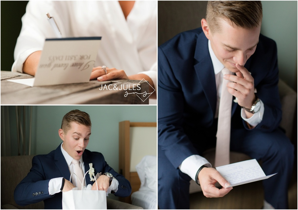 letter from the bride to the groom and a new Movado watch.