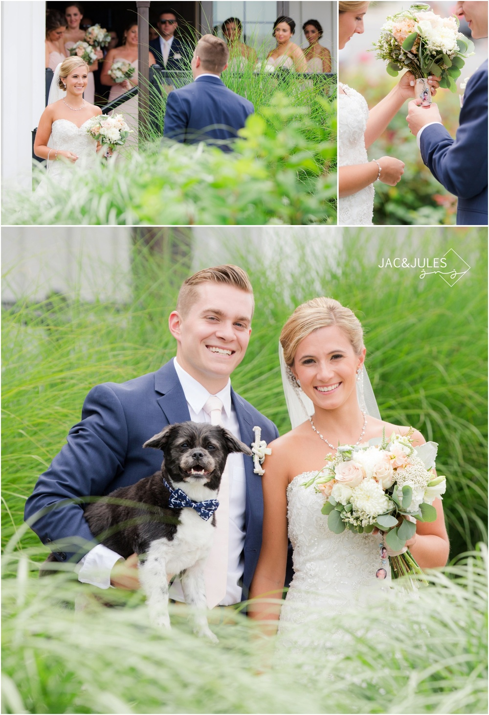 First look and Bride and Groom with their Dog at Daddy O in LBI, NJ