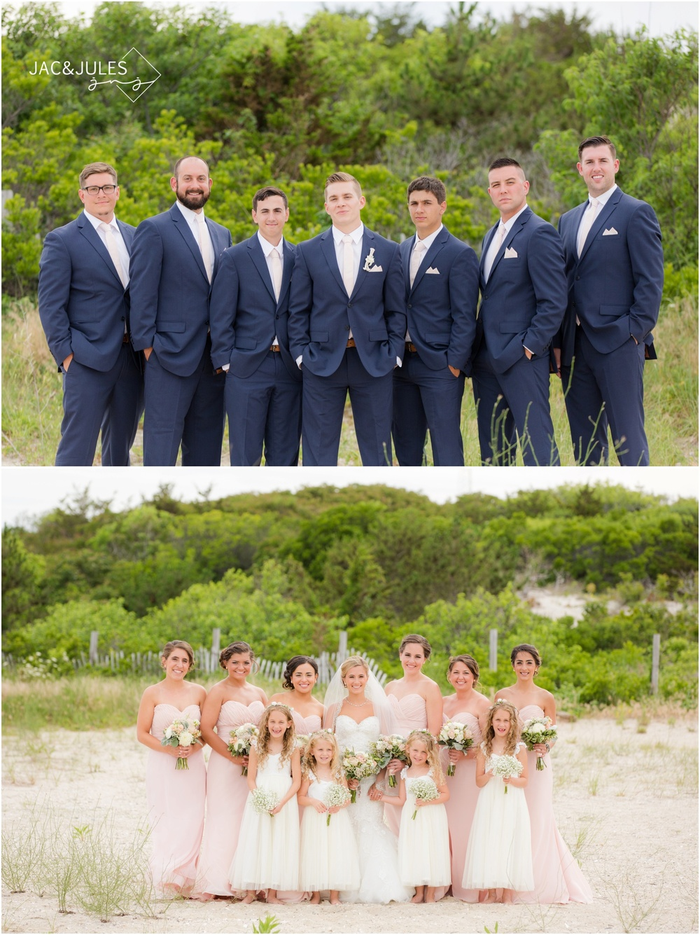 bridesmaids and groomsmen at Barnegat Lighthouse in LBI, NJ for wedding day photos on the beach.