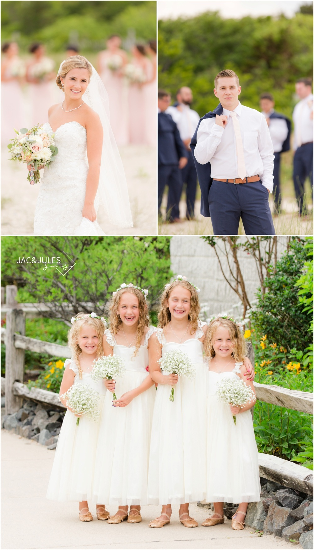 wedding day photos of Bride, Groom and 2 sets of identical twin flower girls on the beach in LBI, NJ by Old Barney.