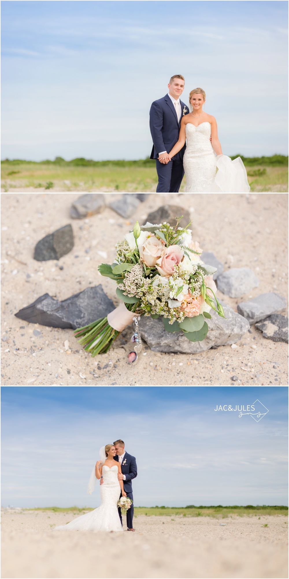 Bride and Groom at Barnegat Lighthouse in LBI, NJ for wedding day photos on the beach.