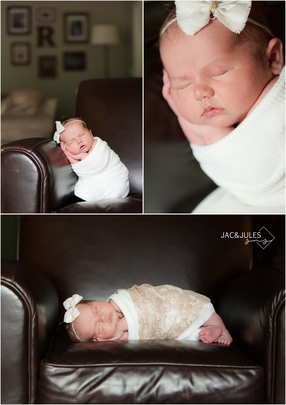 newborn baby girl on leather chair at home in middletown, nj