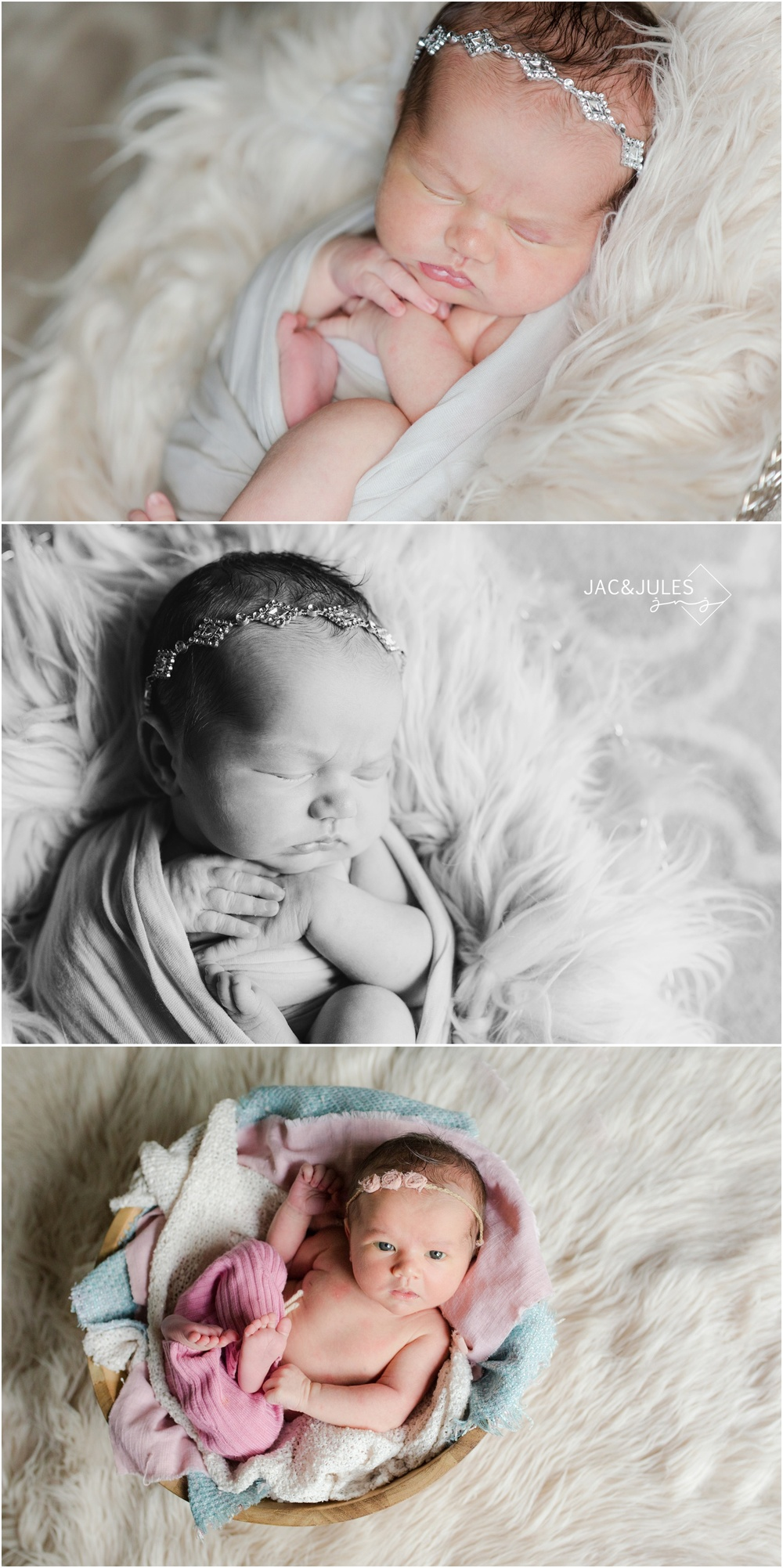 newborn baby girl on white fur in jewel headband at home in middletown, nj