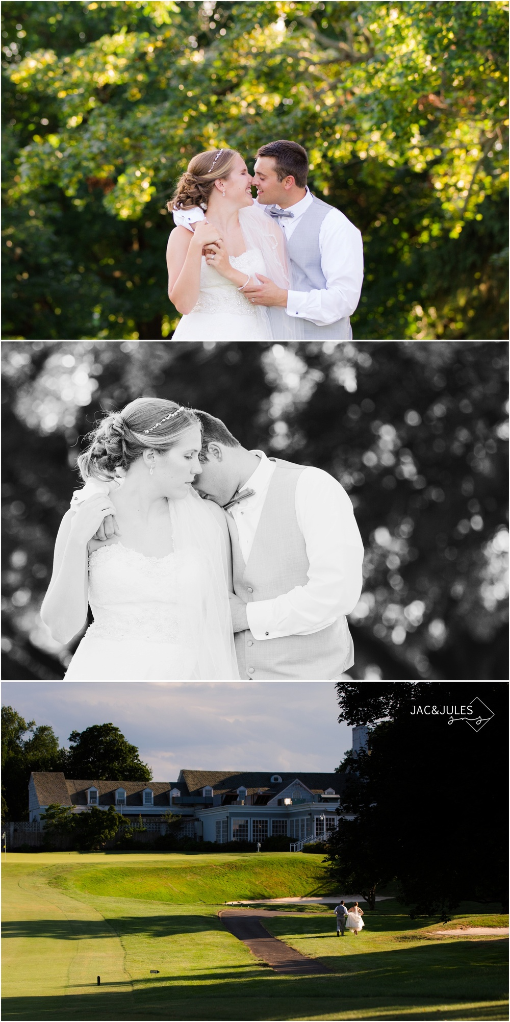 bride and groom photos on the golf course at forsgate country club in Monroe, NJ.